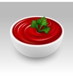 Bowl of Red Tomato Ketchup Sauce with Parsley vector