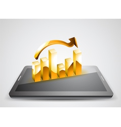 Business graph on tablet pc vector image