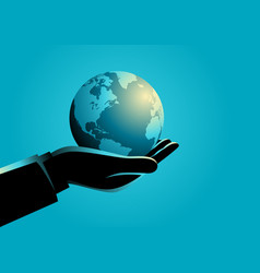 businessman holding globe on his hand vector image