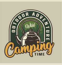 Camping time colorful badge vector