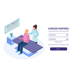 Cancer control isometric background vector