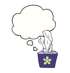 Cartoon box tissues and thought bubble vector