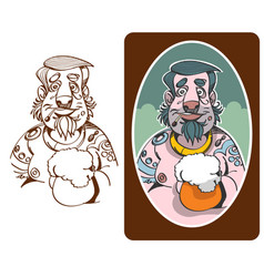 cartoon character man with tattoo vector image