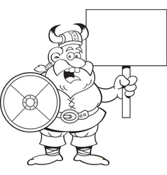 Cartoon viking holding a sign vector