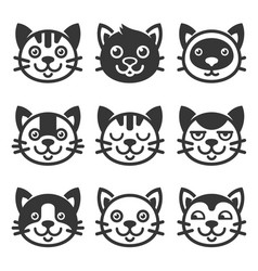 Cat cartoon face icon set vector