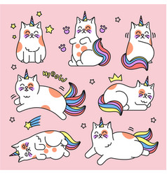 Cat unicorn set vector