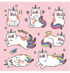 cat unicorn set vector image