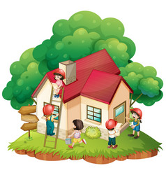 children building little house vector image