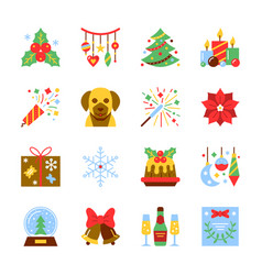 christmas and new year colorful icon set vector image
