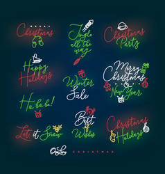 christmas pen line lettering color vector image