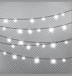 christmas snowflake light bulbs template vector image