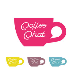Coffee chat emblem cup bubble vector