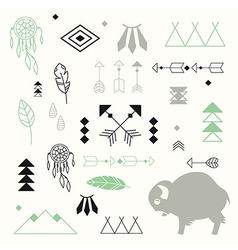 Collection of native American symbols vector