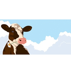 Cow and clouds vector image vector image
