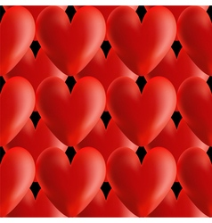 Design seamless red volumetric hearts pattern vector image