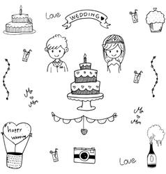 Doodle of wedding vector image