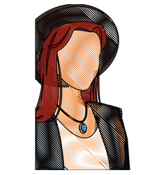 Drawing woman no face fashionable model vector