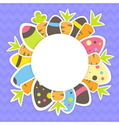 Easter carrots and eggs pattern on a purple vector image