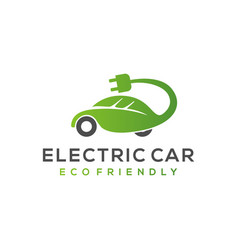 Electric car hybrid eco friendly vehicle leaf vector