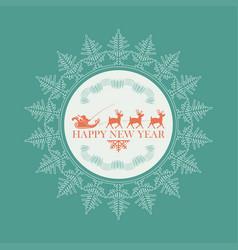 emblem of santa claus on reindeers inside a gentle vector image