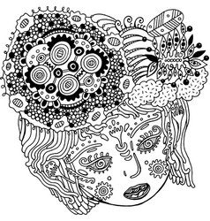 fairy tale surreal girl portrait doodle woman s vector image