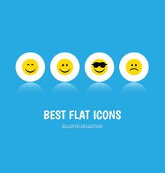 Flat icon gesture set of happy joy smile and vector