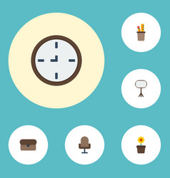 Flat icons watch board stand suitcase vector