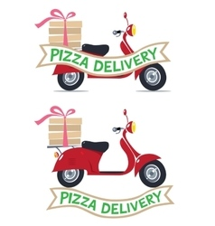 Funny red scooter with logo Pizza Delivery vector image