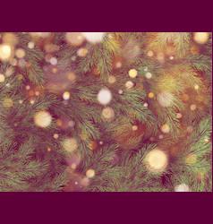 golden bokeh light garland on christmas tree eps vector image