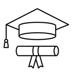 Graduated hat diploma icon outline style vector