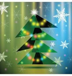 Green Christmas fir tree on colorful background vector image