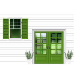 Green modren front door with window facade house vector