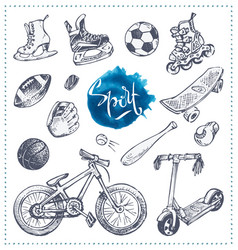 Hand drawn icons of sport equipment sketch vector