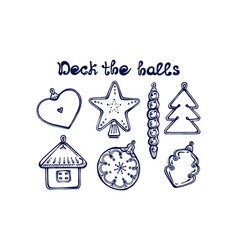 hand drawn winter set with tree decorations vector image