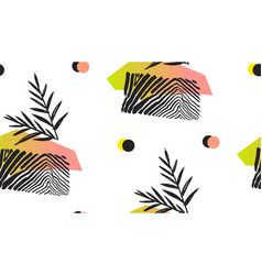Hand made abstract summer exotic jungle plant vector