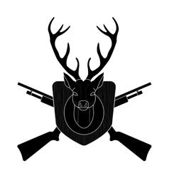 Hunting trophy deer head black silhouette vector image