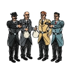 Inspector police and thief cartoon design vector image