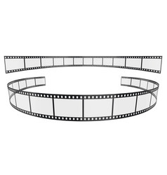 Isolated symmetrical curved filmstrips 35mm on vector