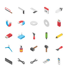 Isometric set objects vector