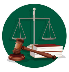 Judge gavel and grey scale with two book on green vector