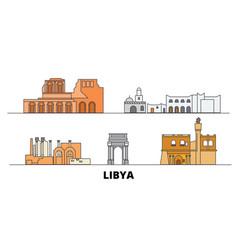Libya flat landmarks libya vector