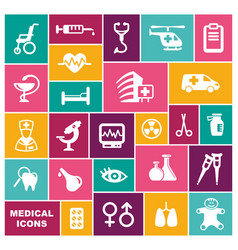 medical icons in flat style vector image