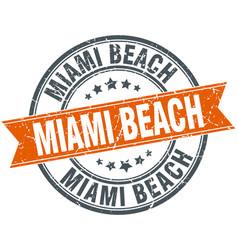 miami beach red round grunge vintage ribbon stamp vector image