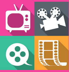 movie icons in four backgrounds vector image