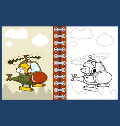 Nice pilot cartoon on helicopter coloring page or vector