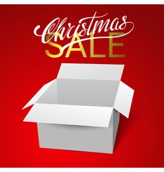 Open gift box template isolated on red background vector