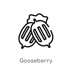Outline gooseberry icon isolated black simple vector