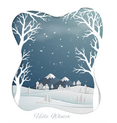 paper art design with countryside and winter snow vector image