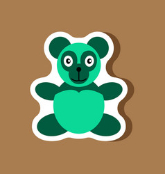 Paper sticker on stylish background toy panda vector