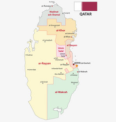 qatar administrative and political map with vector image